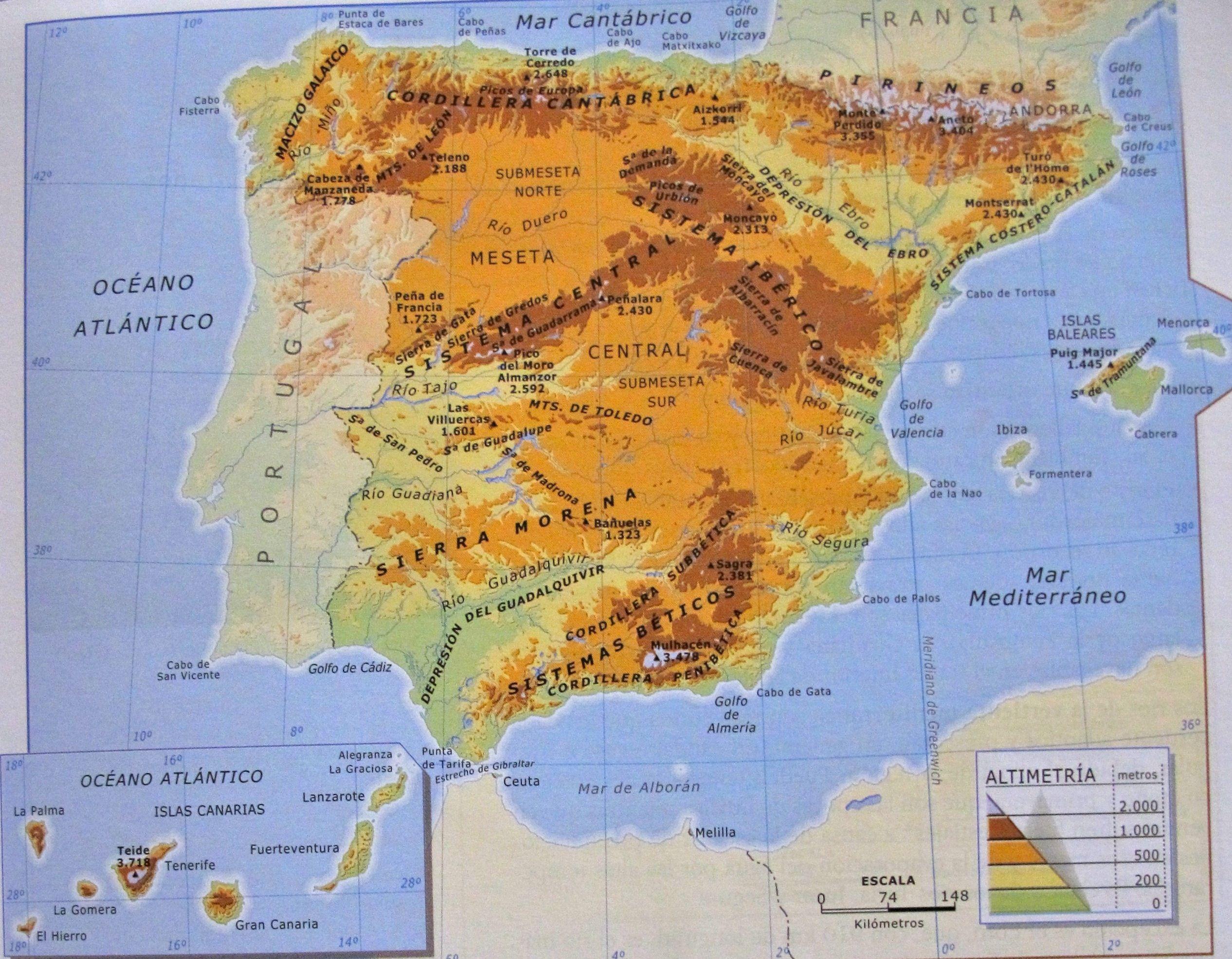 Mapa Geografico de España: representación de cordillera, mesetas ...