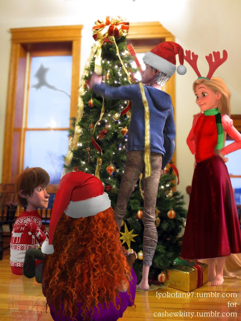 Merry Christmas From The Big Four I Think Merida Was Photoshopped Onto A Baby Los Cuatro Grandes Jack Frost Rapunzel