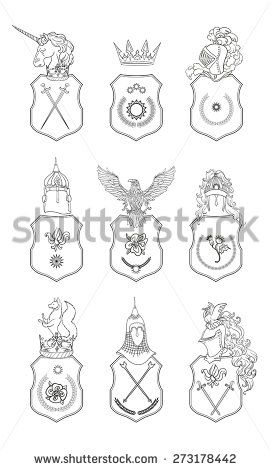 Vector Heraldry Emblem Collection Coat Of Arms Template  Stock