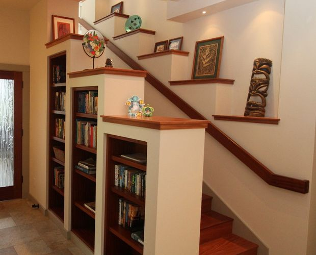 entertainment center under stairs | hawaii staircase shelves built-in  design interior