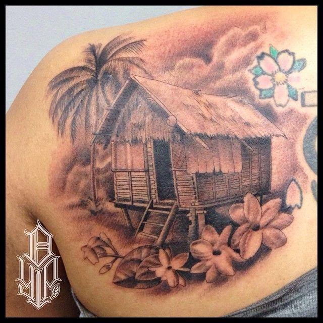 fun filipino tattoo done on the back shoulder a bahay kubo hut sampaguita flowers and a palm. Black Bedroom Furniture Sets. Home Design Ideas
