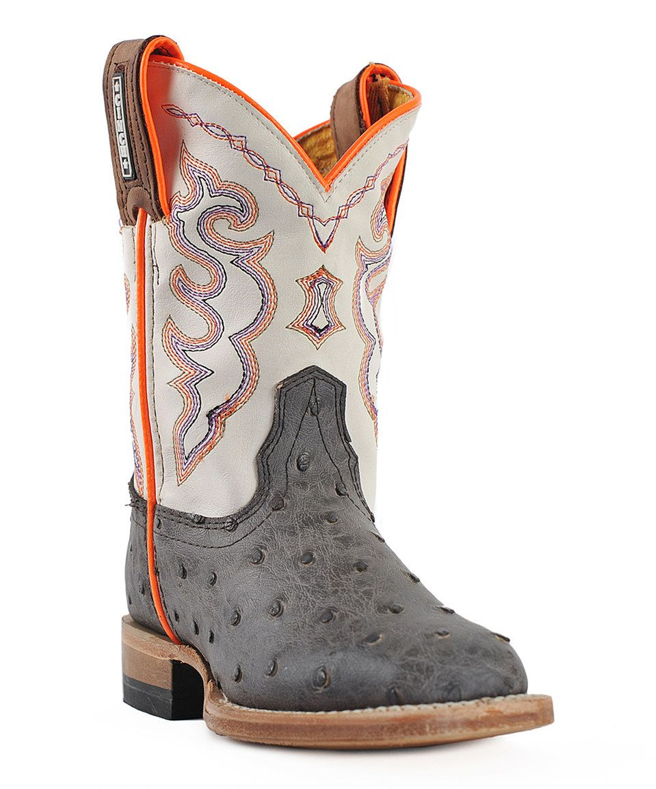 Look what I found on #zulily! CINCH Gray Full Quill Leather Western Boot - Kids by CINCH #zulilyfinds