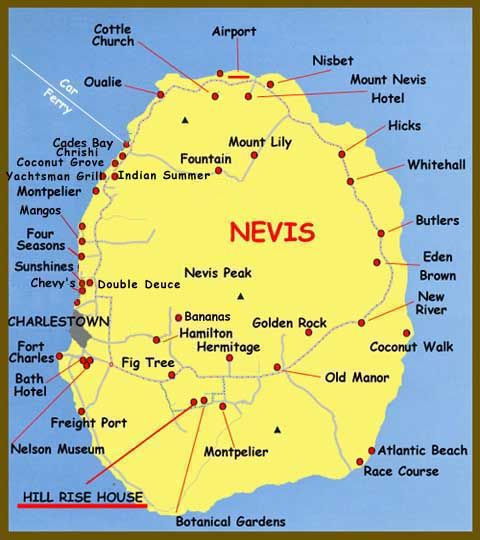 Nevis map  Caribbean  Bermuda Maps  Pinterest  Caribbean St