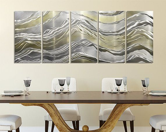 Gold silver metal panel painting modern metal wall art contemporary home accent wall decor alternating current by jon allen