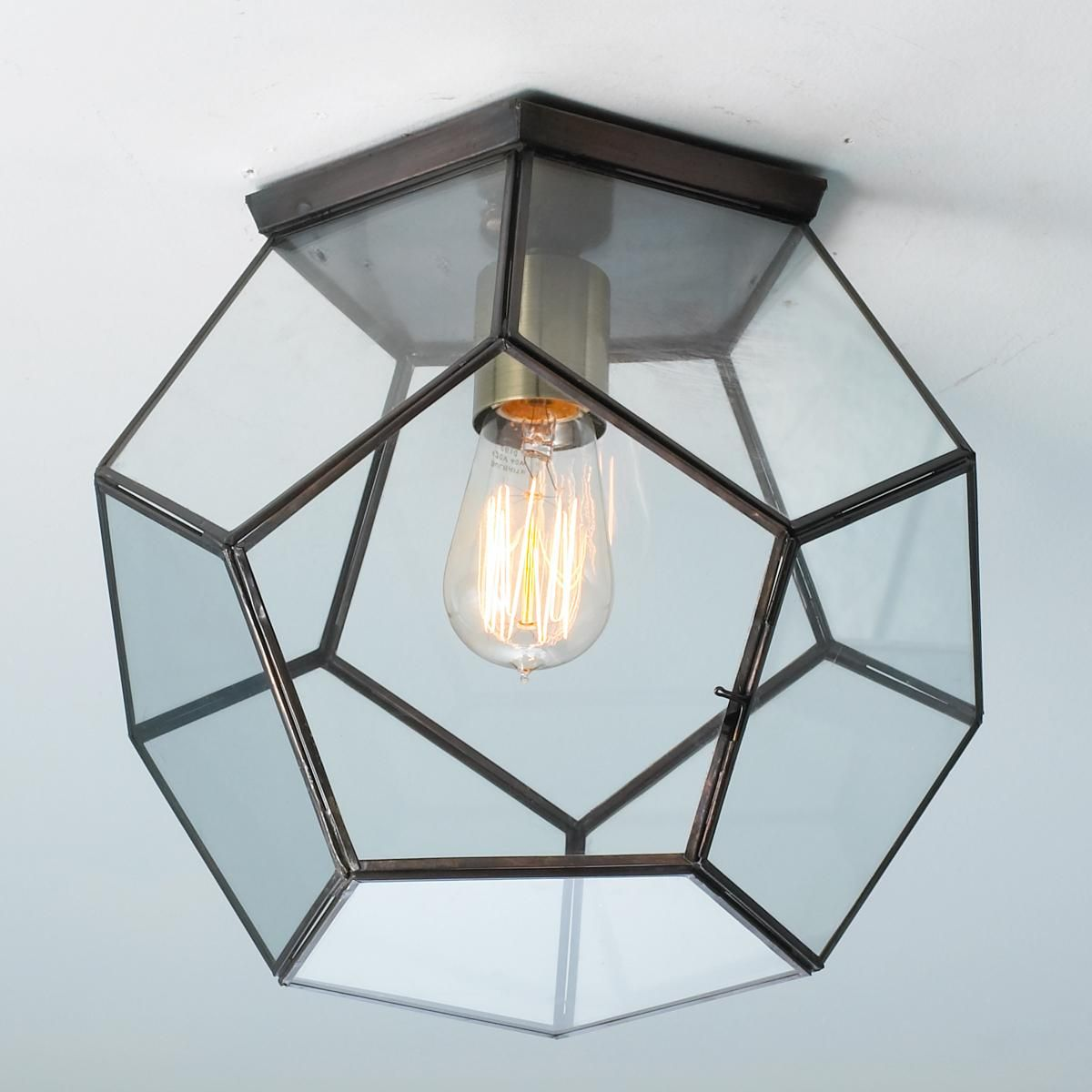 Clear Glass Prism Pentagon Ceiling Light