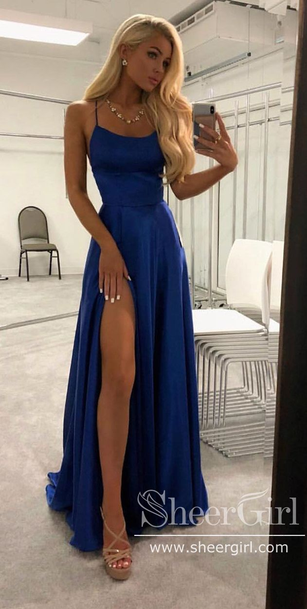 �Free Shipping!Royal Blue Simple Prom Gown with Spaghetti Straps High Slit Prom Dresses