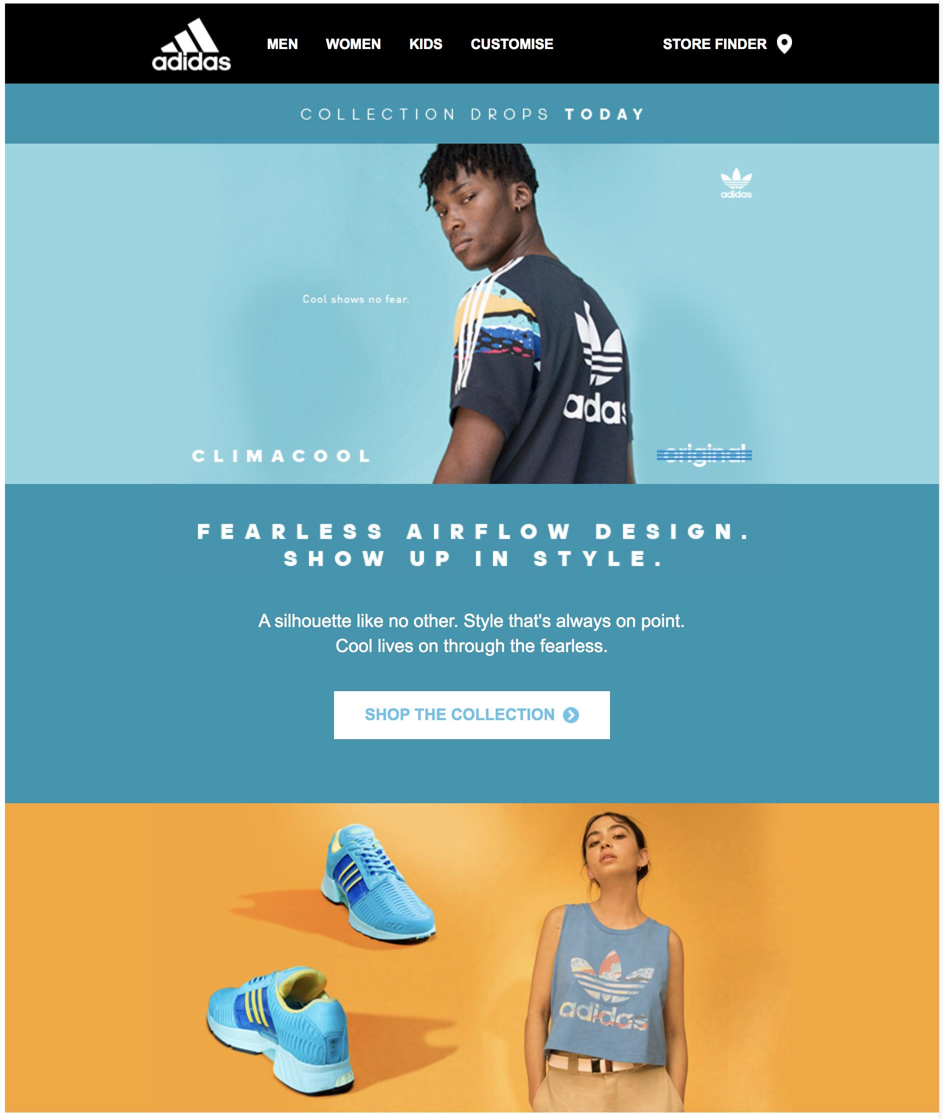 Gemidos Seguir Fraternidad  Adidas newsletter - Climacool   Cores