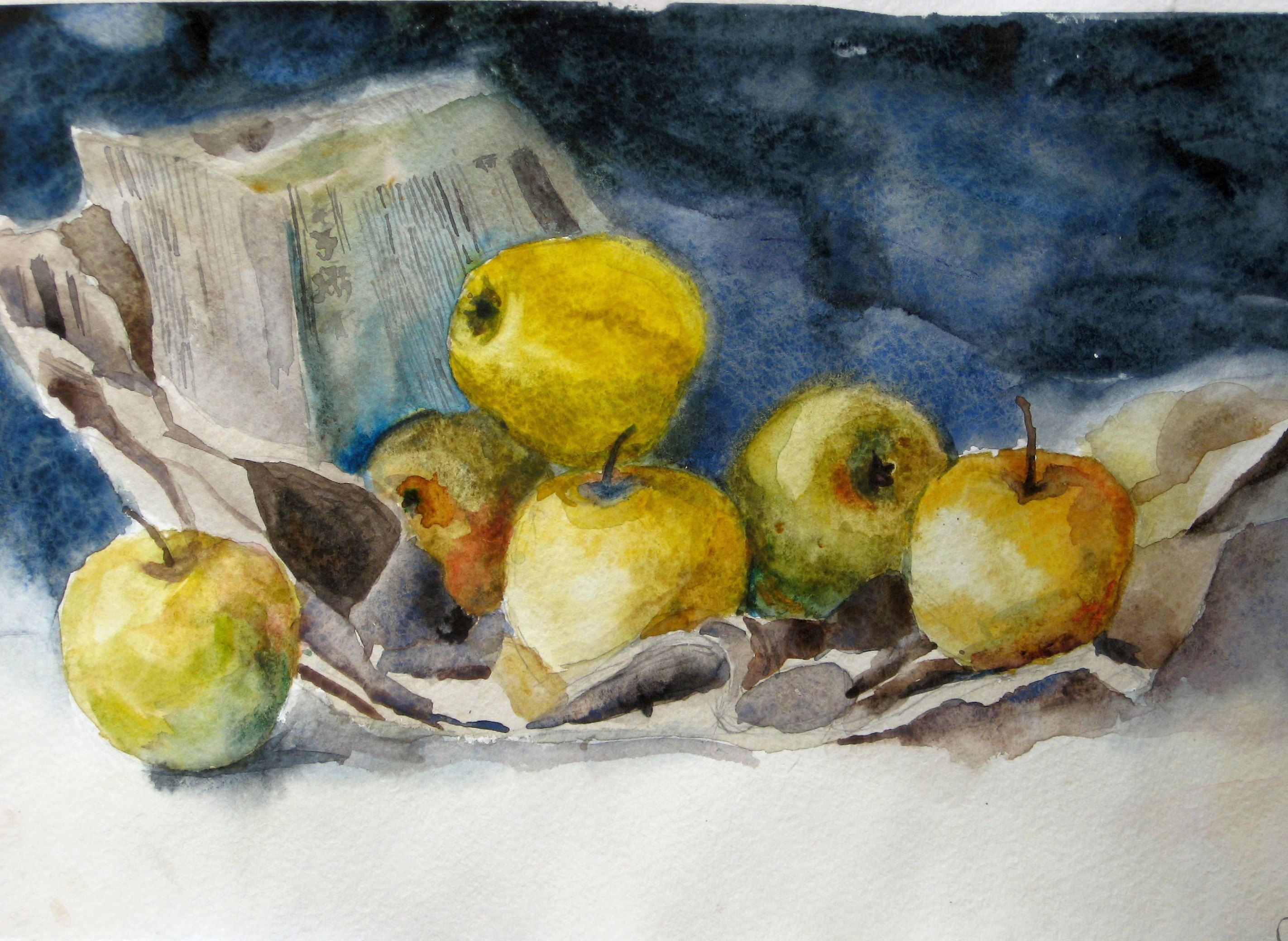 Watercolor apples, Apples on paper, still-life watercolor ...