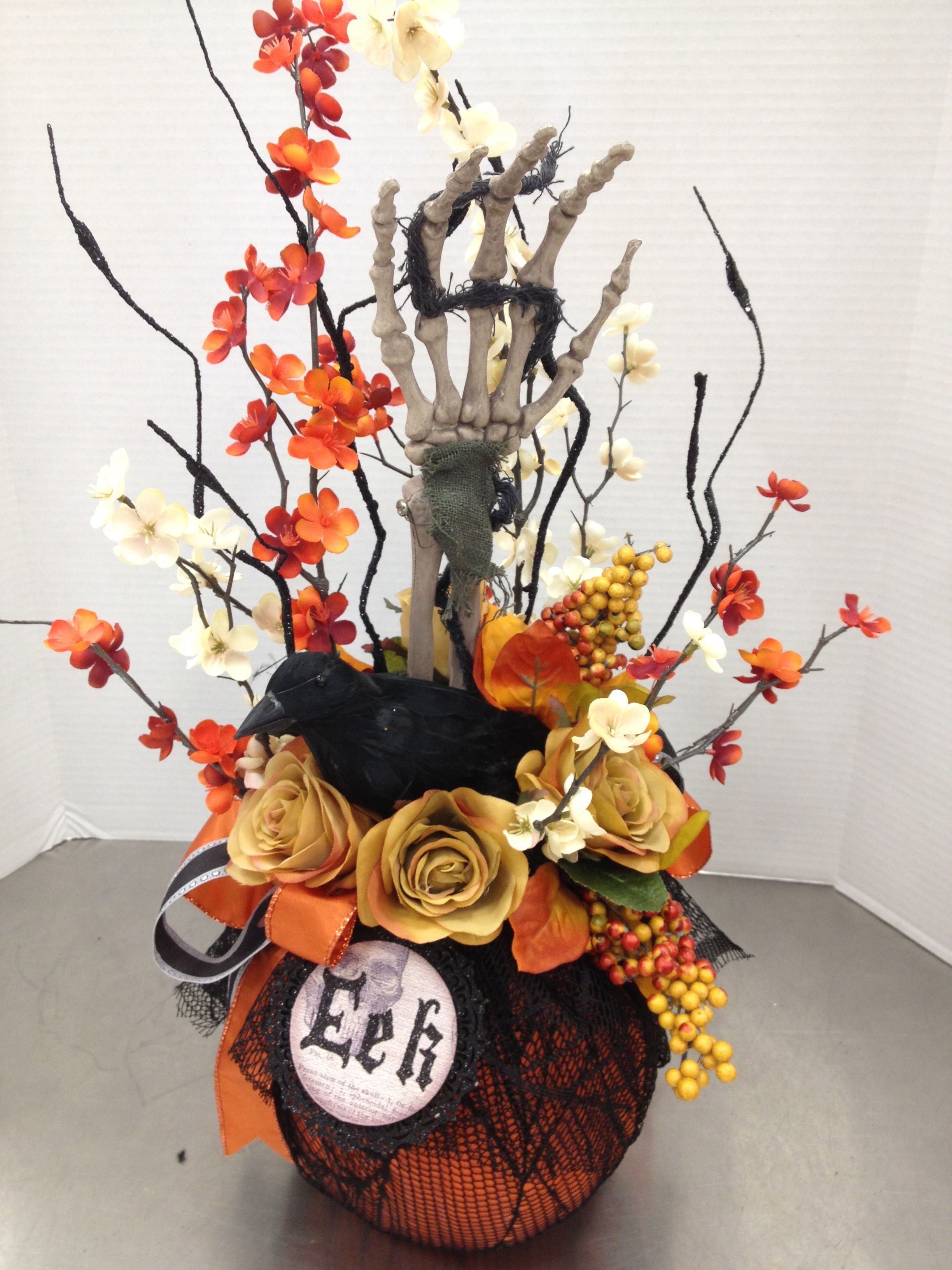 Halloween Traditions Pumpkin W Skeleton Hand Amp Crow By