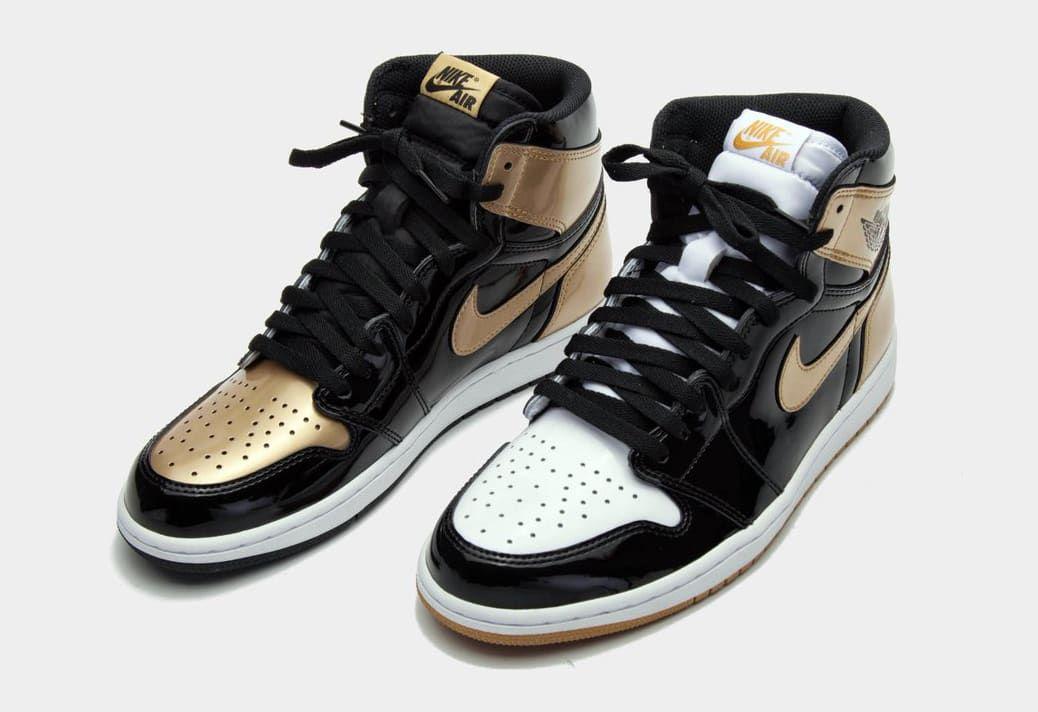 Gold Air Jordan 1 Top Three 2 1 038 712 Pixels Patent Leather