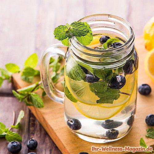 Zitronen-Blaubeer-Minze-Wasser - Rezept für Infused Water - Detox-Wasser