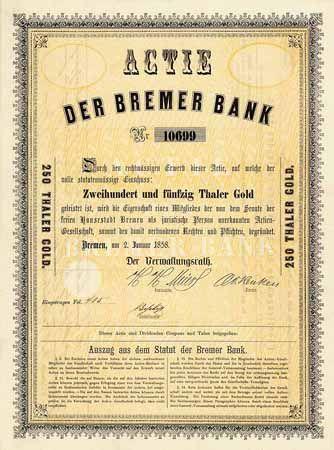 Bremer Bank Actie 250 Thaler Gold 2 1 1858 Grunderaktie Auflage 20000 R 10 Wertpapiere Papier Aktien