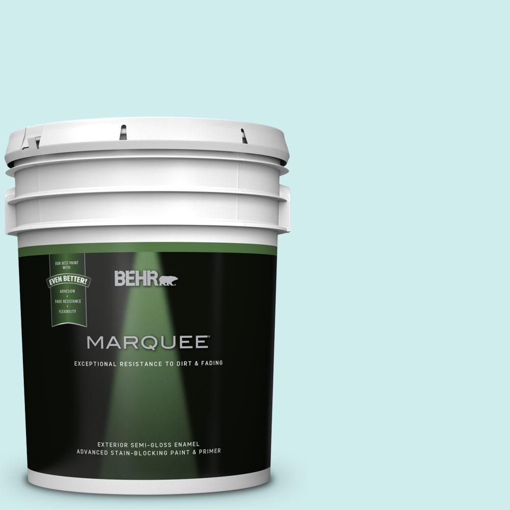 Behr Marquee 5 Gal 510c 1 Ionic Sky Semi Gloss Enamel Exterior Paint And Primer In One Behr Marquee Exterior Paint Behr Marquee Paint