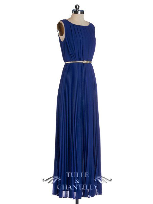 Navy Blue Long Bateau Neck Formal Bridesmaid Dress With Gold Belt