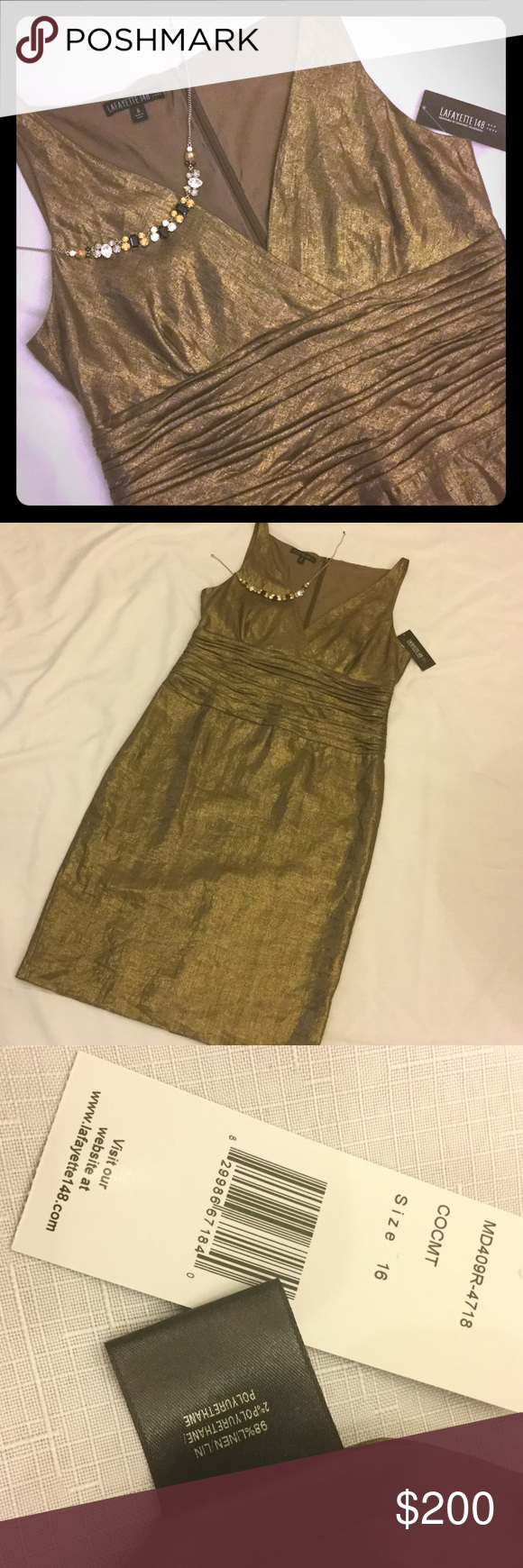 Lafayette 148 Cocktail Dress Gorgeous! Bronze gold lame in a linen ...