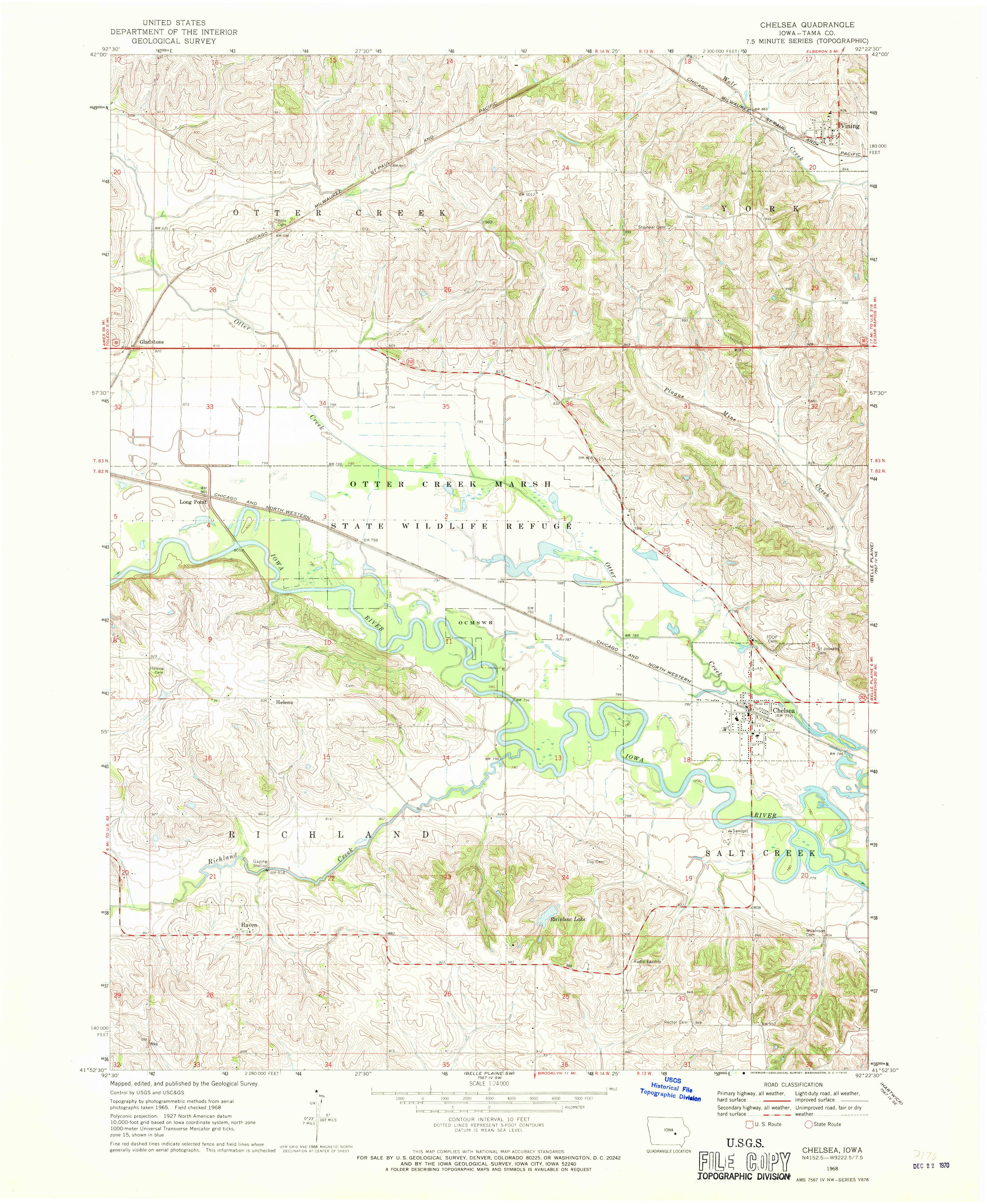 Chelsea IA Map From The USGS Historical Topographic Map - Topographic map free download