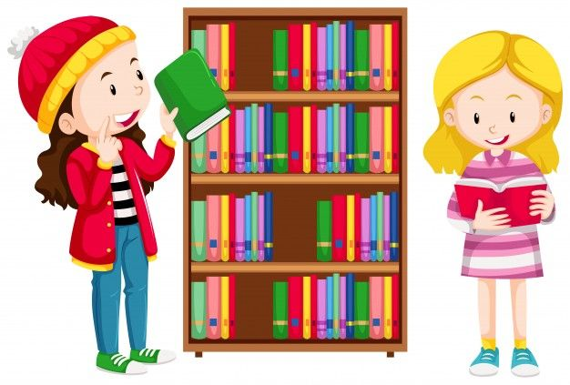 Download Two Girls In The Library Illustration For Free Library Illustration Cartoon Clip Art Illustration
