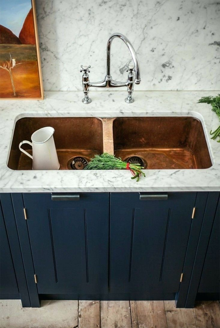 Blue Kitchen Sink Commercial Stainless Steel Dark Navy Cabinets With Copper Soon To Be Home