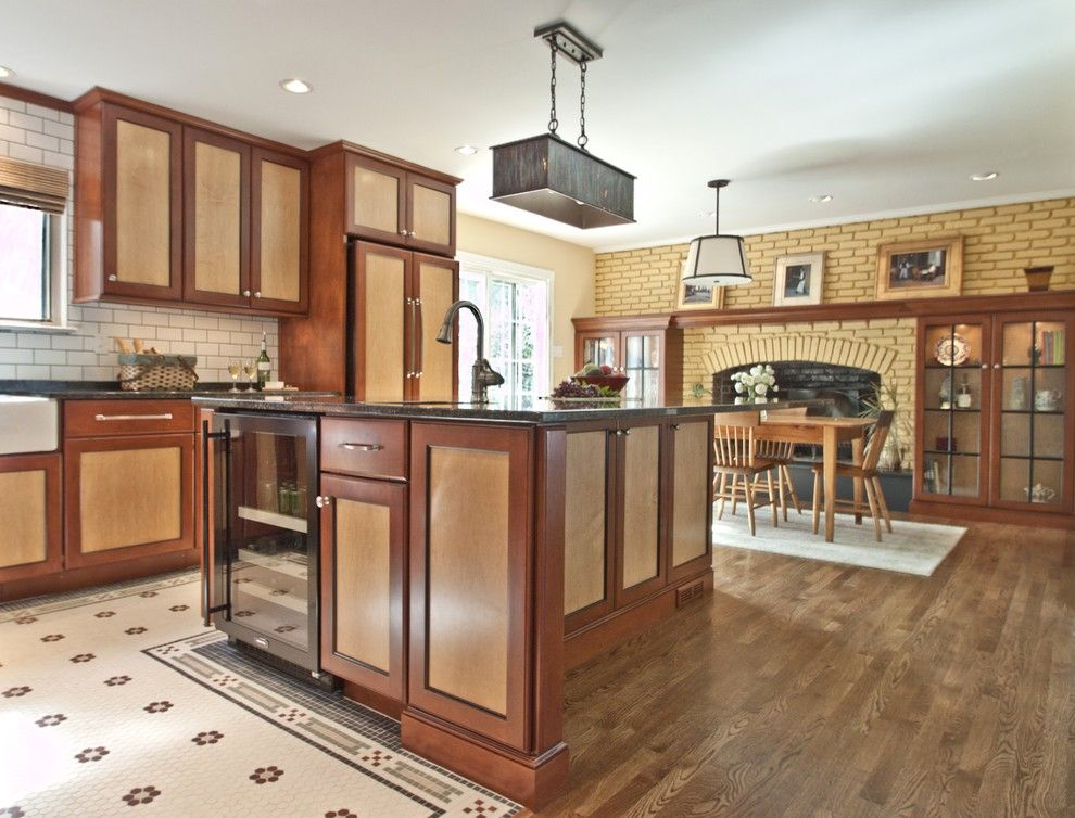Two Toned Stained Kitchen Cabinets