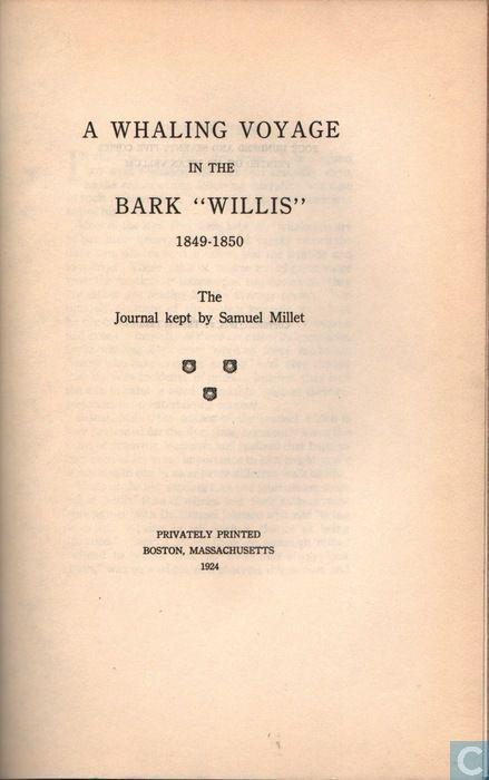"""Boeken - Diversen - A Whaling Voyage in the Bark """" Willis"""""""