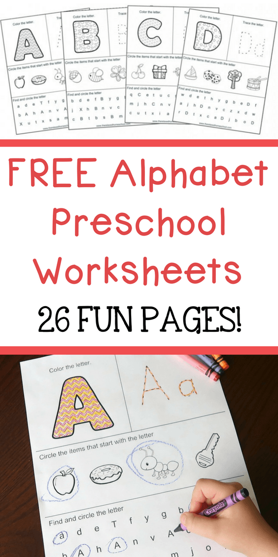 FREE Alphabet Preschool Worksheets (26 Fun Pages) Alphabet Worksheets  Preschool, Preschool Learning Activities, Preschool Worksheets