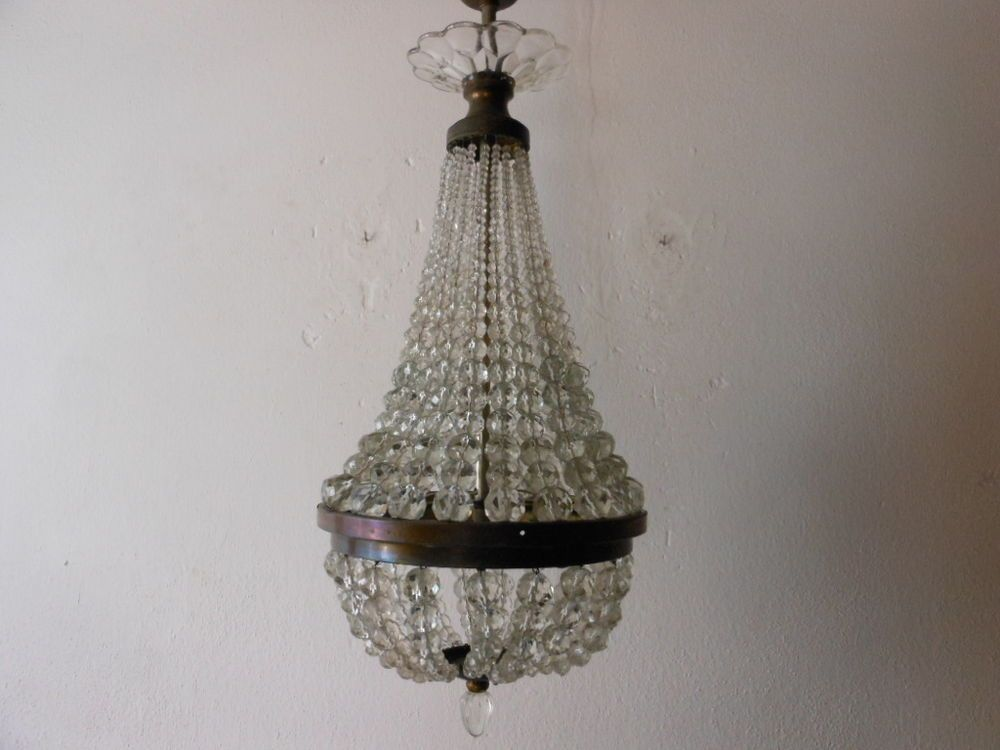 C 1910 French Empire Crystal Ball Beads Basket Chandelier Arriving In Approx
