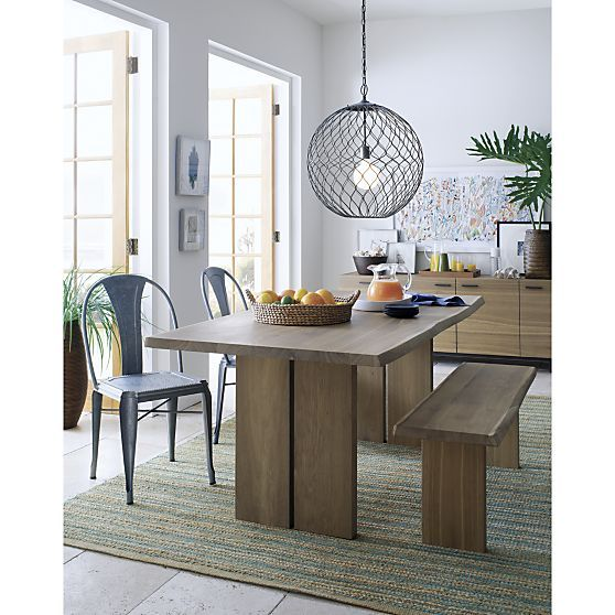 Hoyne Pendant Reviews Crate And Barrel Metal Dining Chairs Rustic Dining Room Dining Table