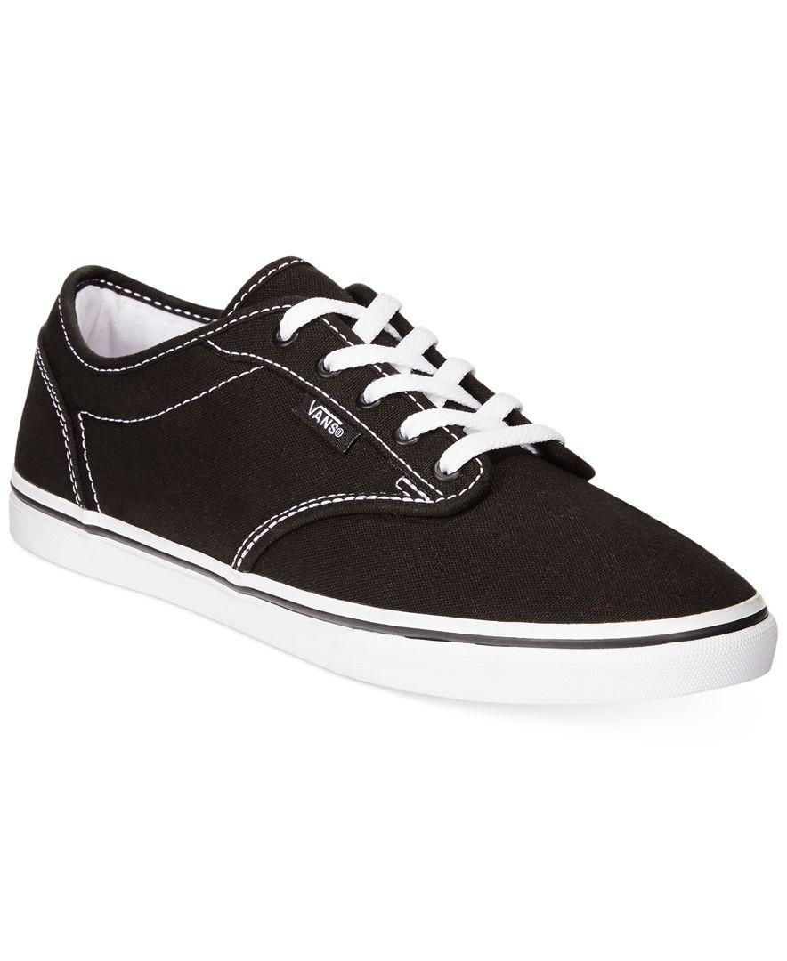 Vans Womens Atwood Low LaceUp SneakersBlackBlack BlackWhite