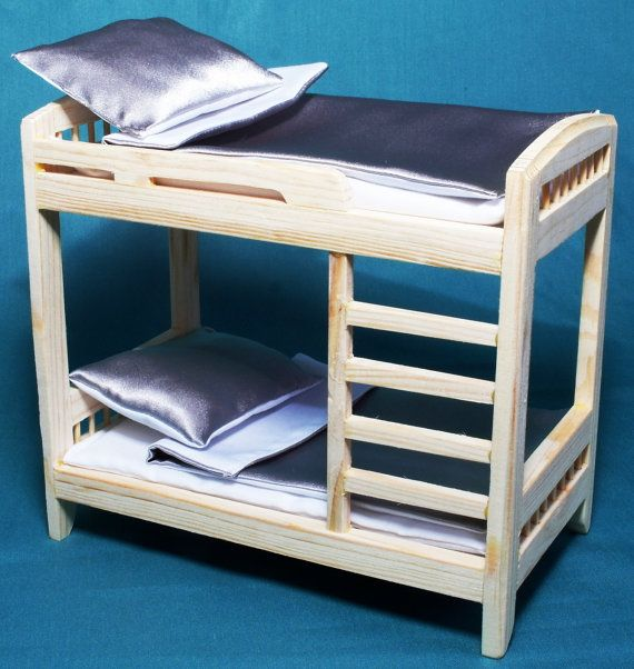 Bunk BED -tier DOLLHOUSE wooden furniture one inch scale