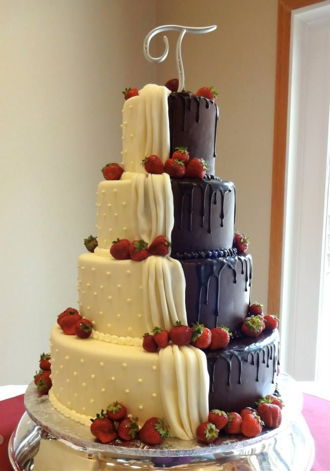 White Fondant And Chocolate Buttercream Brides Grooms Cake From Papa Haydn Dessert Restaurant In Portland OR