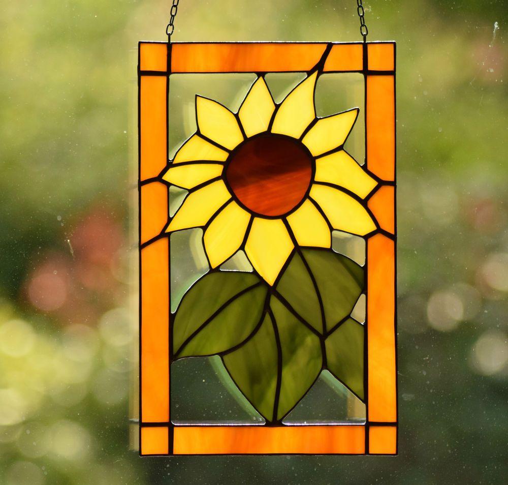 Tiffany Fensterbild Sonnen Blume Glasbild Bunt Glas Sonnenfänger