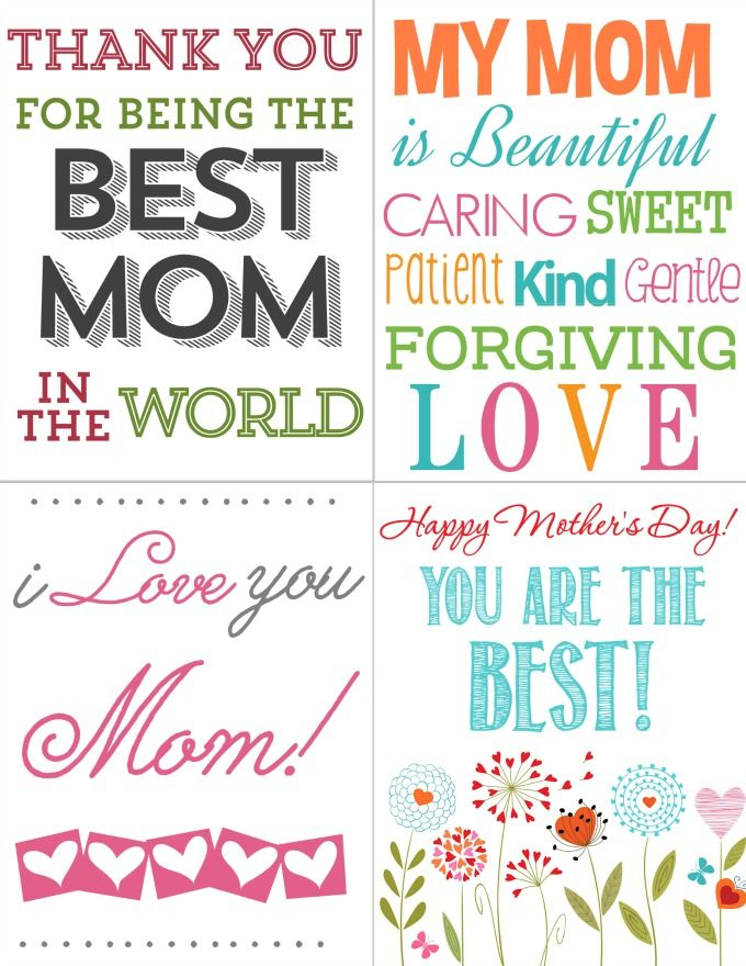 Printables for Kids FREE Mother's Day Cards Happy
