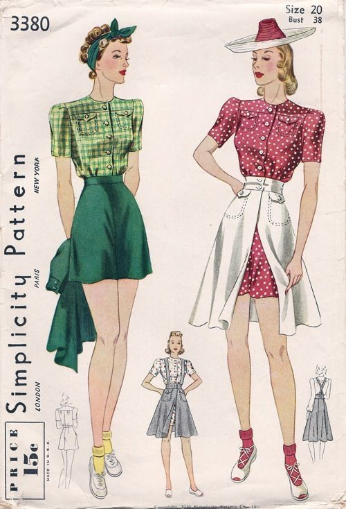 Simplicity 3380 A Vintage Outfits Pattern Fashion 1940s Fashion