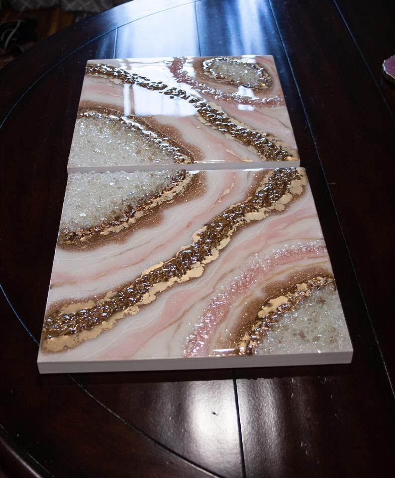 Geode Inspired Artwork / Diptych Art by Lisa Gates