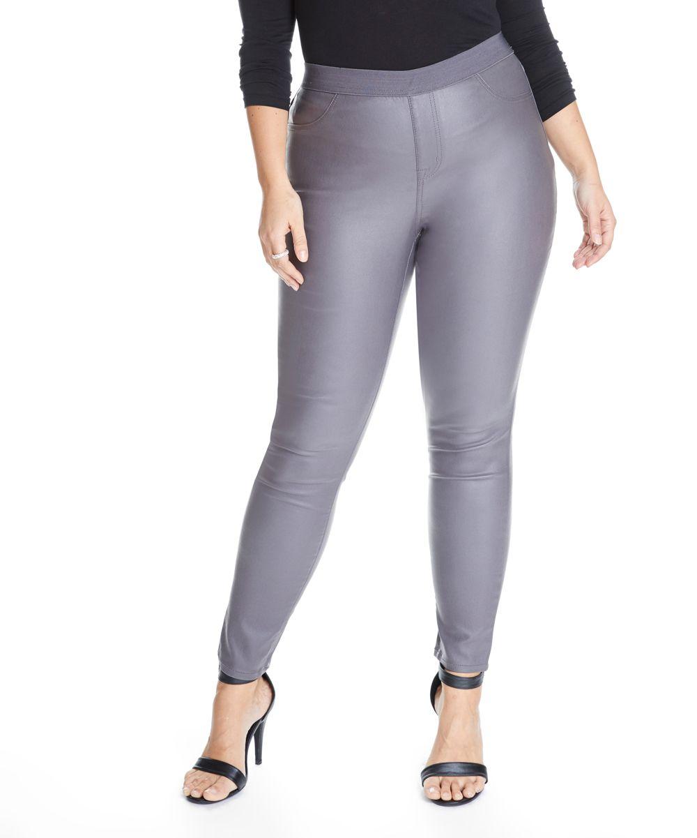 c7604594dc9e14 Gray Zak Faux Leather Skinny Pants - Plus | Ways to wear leather ...