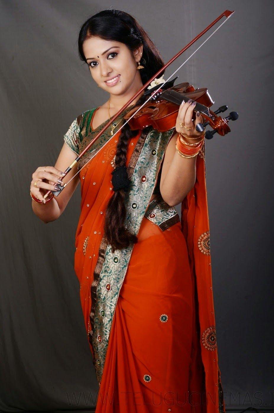 Tv Serial Actress Jyothi Hot In Orange Saree  Indian -6213