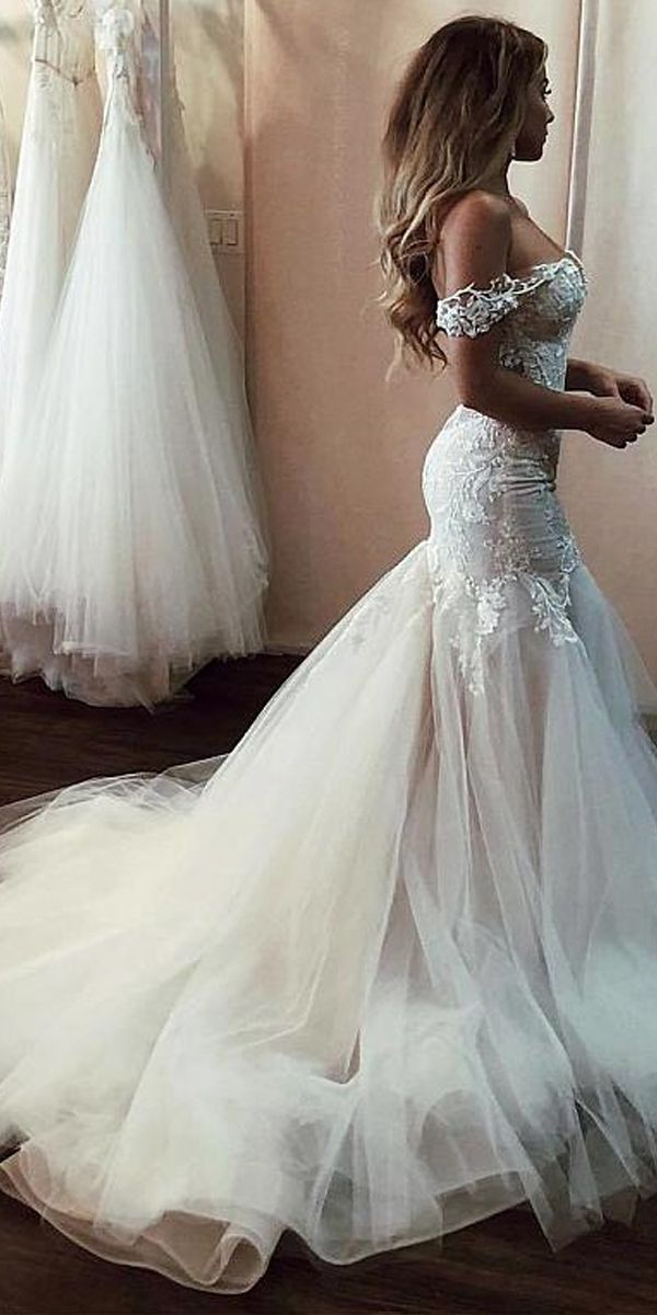0557c3cb32969 Modern Tulle Off-the-shoulder Neckline Mermaid Wedding Dresses With Beaded  Lace Appliques