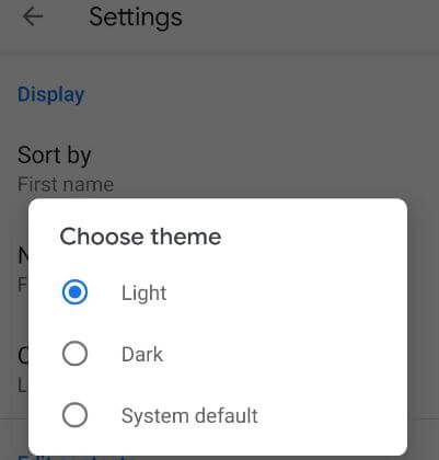 How to turn on dark mode in Google contacts app App