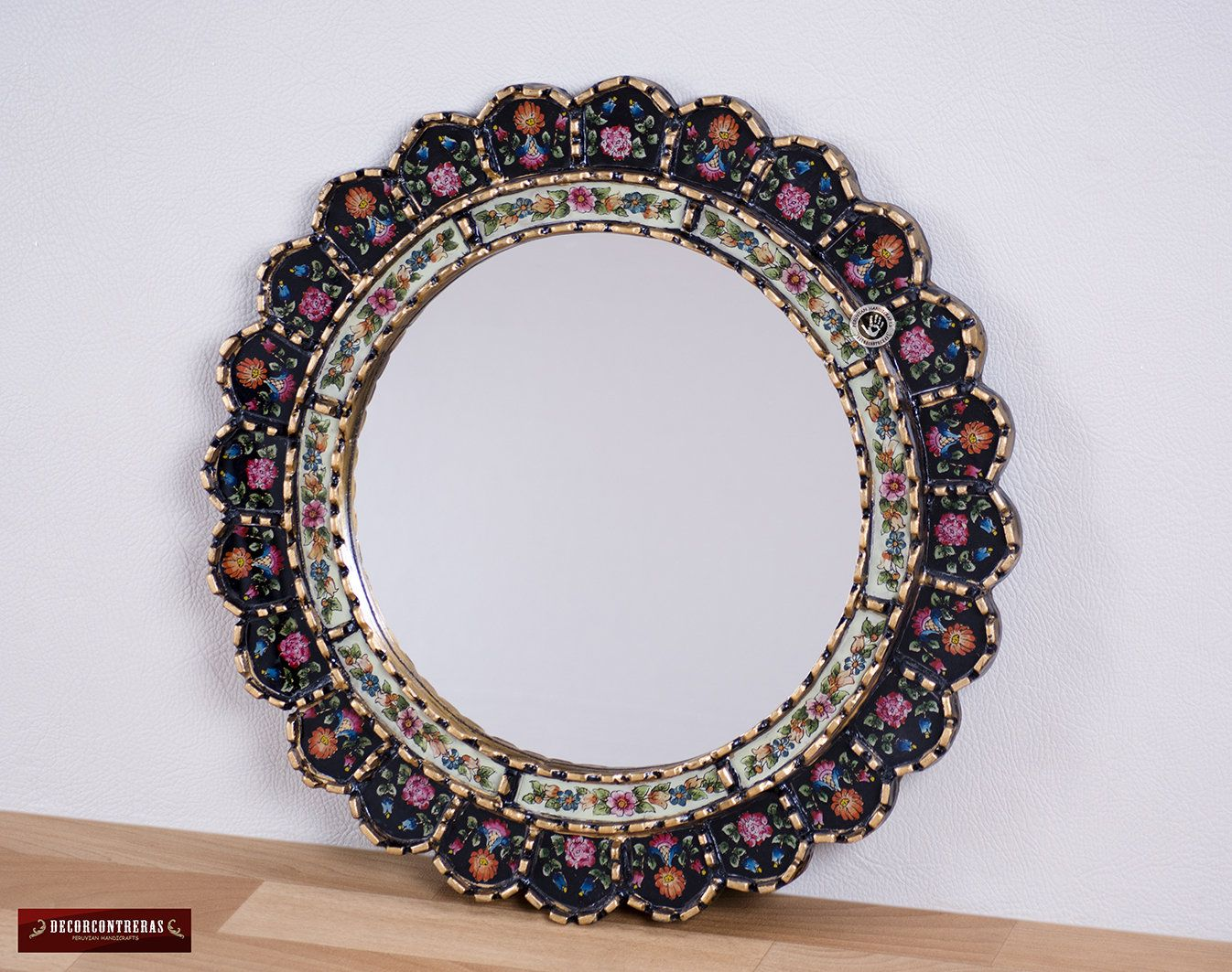 Decorative Cuzcaja Round Mirror For Wall 177in Mystic Flowers
