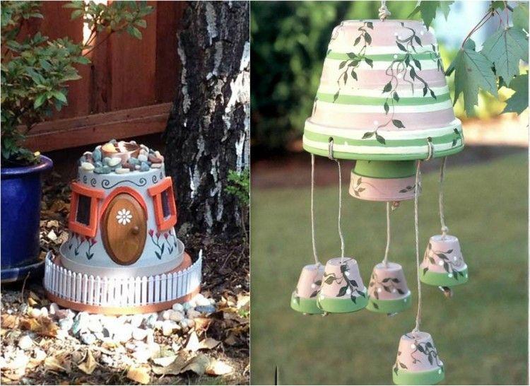 Gartendeko aus Tontöpfen selber-machen-feenhaus-windspiel   Clay pot ...