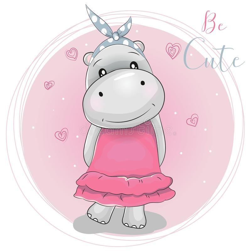 Cute Cartoon Hippo Girl On A Pink Background Illustration About Design Cartoon Beautiful Hippo Baby Cartoons C Rosa Hintergrund Pferde Madchen Karikatur