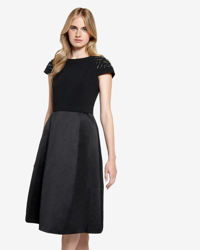 Embellished sleeve dress - Black | Dresses | Ted Baker UK