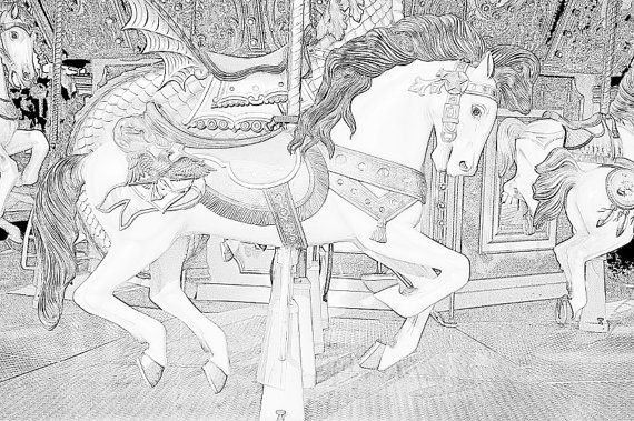 These Are Realistic Coloring Pages Of Carousel Horses Volume 4 Included 5 Separate