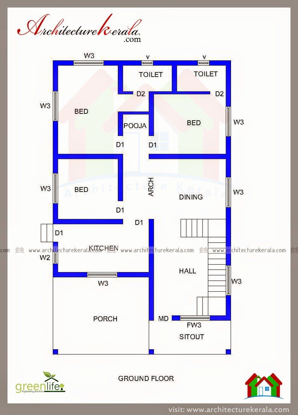 3 Roomed House Plans Elegant Three Bedroom House Plan And Beautiful Elevation In 2020 2bhk House Plan Three Bedroom House Plan My House Plans