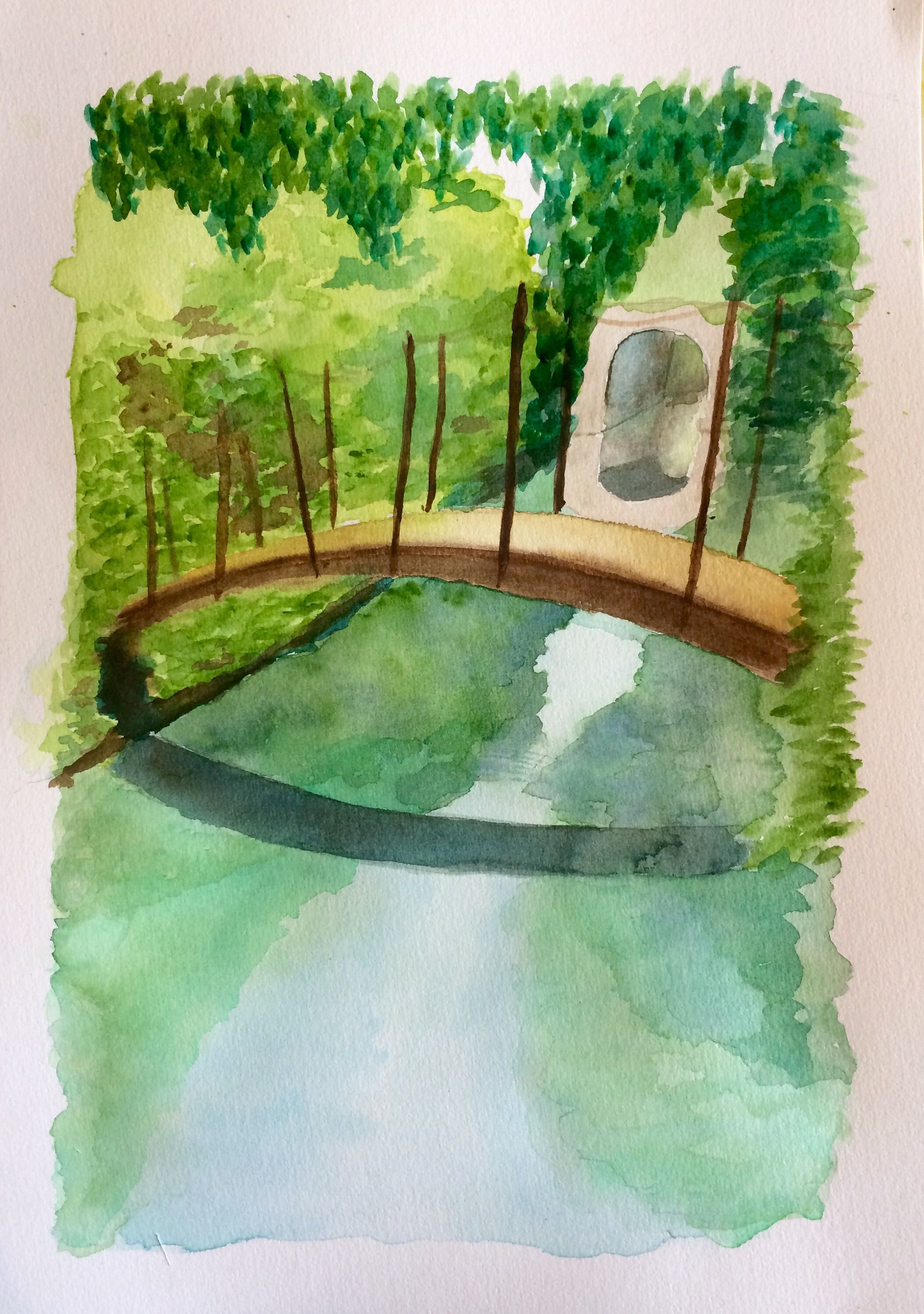 Old Bridge Over A Lake Watercolour Painting Aquarelle Natural