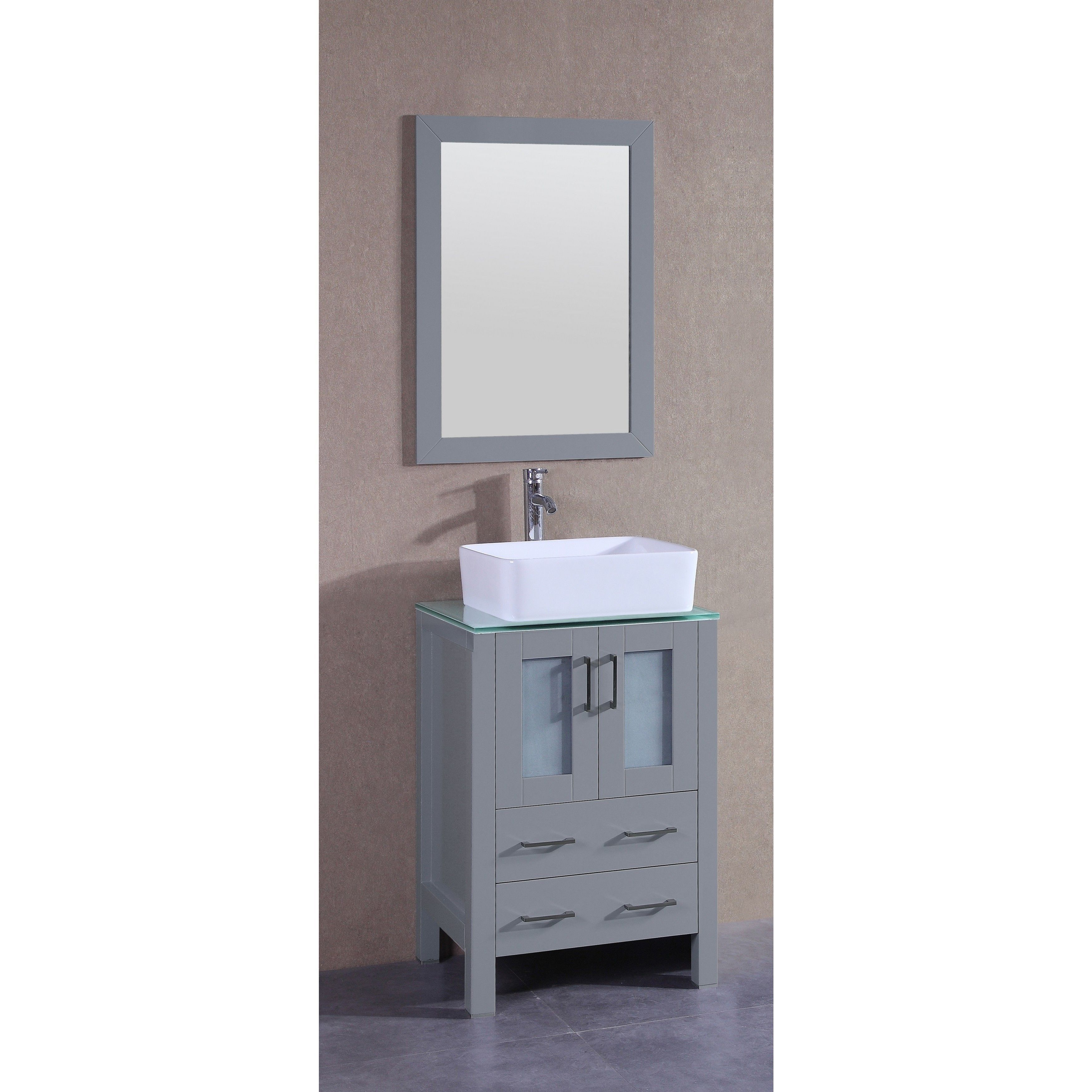 Bosconi 24 inch Single Vanity Cabinet with Glass Top 24 Bosconi