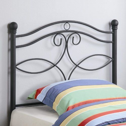 Twin Size Kid Headboard With Swirling Accents In Matte Dark