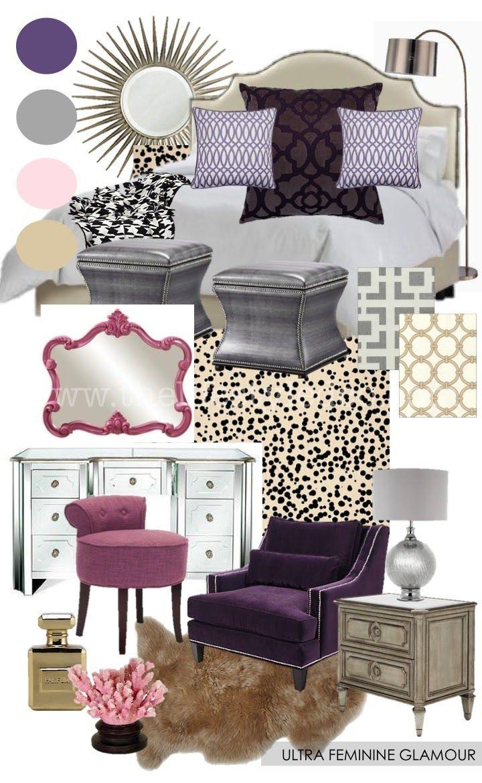 Ultra Feminine Glamour Bedroom Mood Board From Www Thelifestyledco Com Master Bedroom Purple Bed Purple Master Bedroom Home Decor Bedroom Glam Master Bedroom