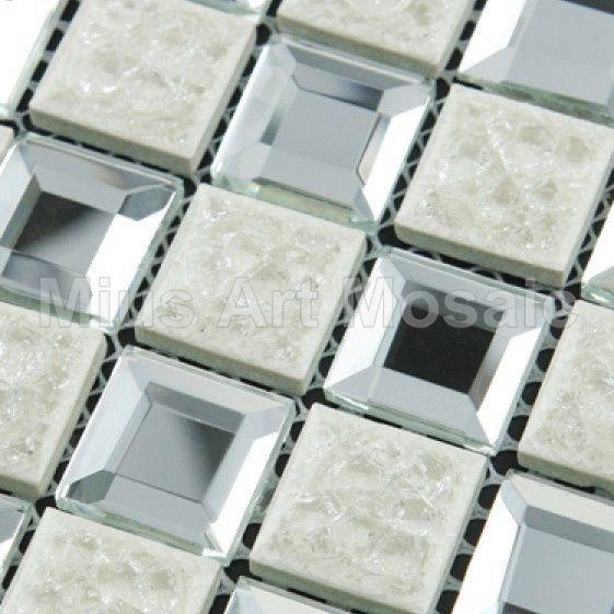 Beveling silver mirror Glass Tiles mixed ceramic mosaic Kitchen Backsplash tiles A4KL488