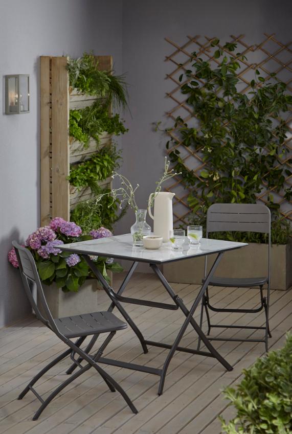 Table de jardin métal carrée Blooma Azolla marbre 80 x 80 cm ...